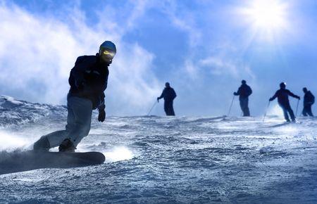 snowboarder: Ski resort Italy , man snowboarding Stock Photo