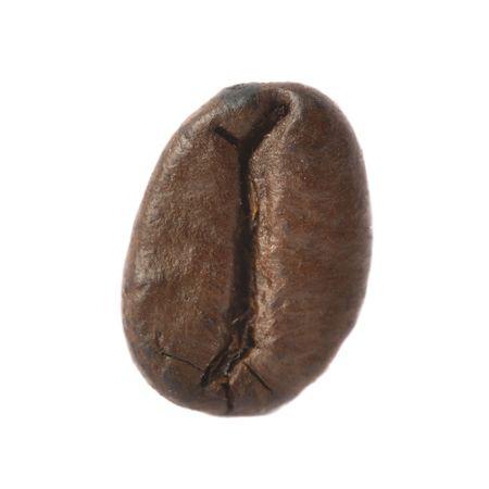 caf:  Isolated macro shot of single coffee bean Stock Photo
