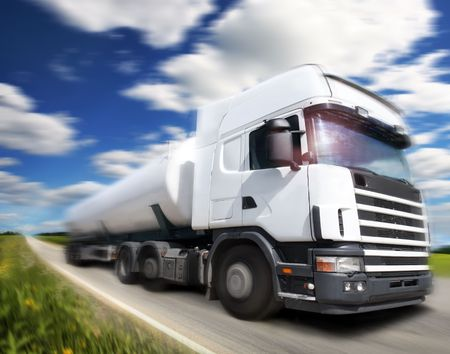 truck driving on country-roadmotion photo