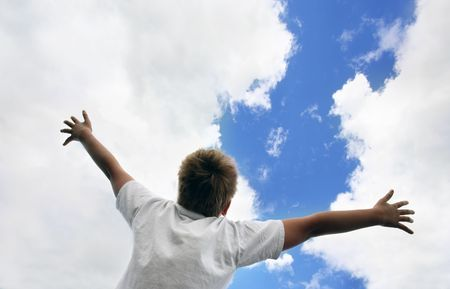 Boy with the open hands to the sky Stock Photo - 1312339