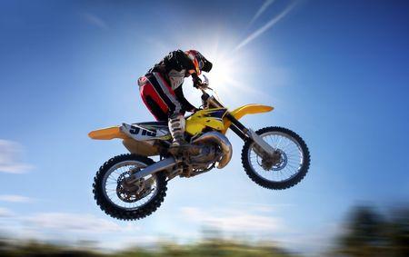 supercross: motocross rider in the air