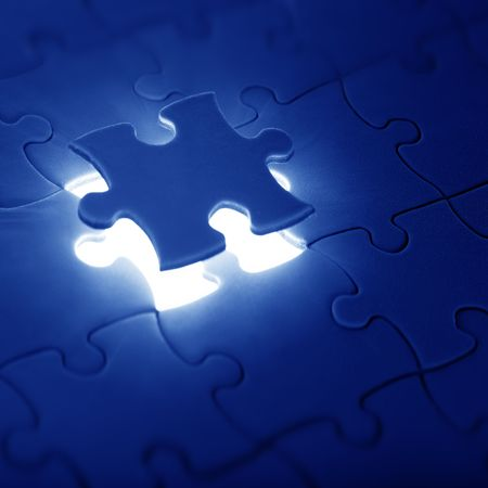 lacking: jigsaw puzzle with the missing piece