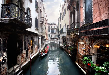 on the canal: venice - canal and a bridge
