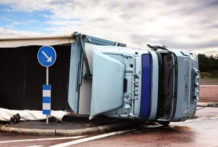 semi trailer: Overturned Lorry Stock Photo