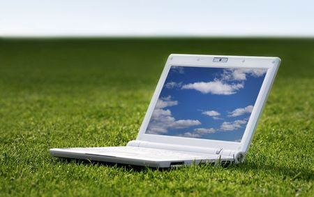 white laptop in nature Stock Photo - 3475236