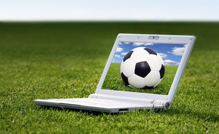 white laptop in nature Stock Photo - 3475235