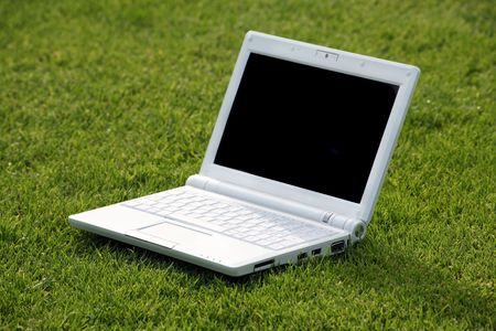 white laptop in nature Stock Photo - 3475239