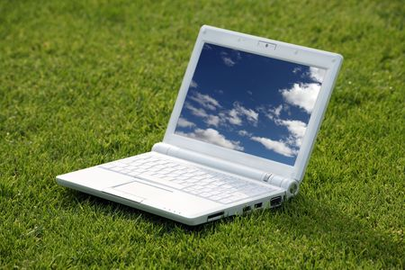 white laptop in nature Stock Photo - 3475240
