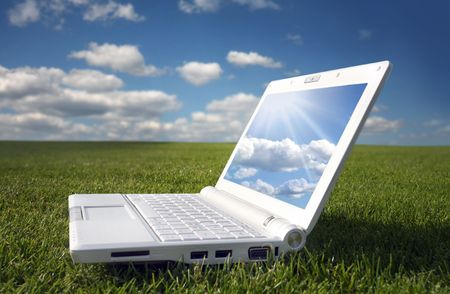 white laptop in nature Stock Photo - 3475232