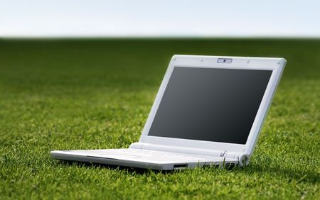 white laptop in nature Stock Photo - 3475229