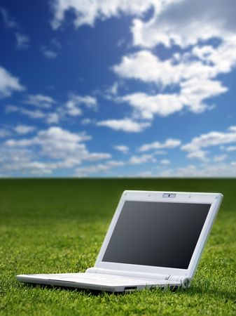 white laptop in nature Stock Photo - 3574801