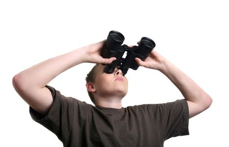 boy with binoculars isolated on white Stock Photo - 3768076