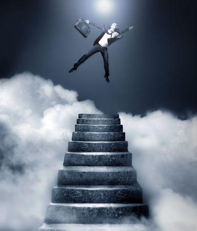 Businessman reaching heaven Stock Photo - 3772562