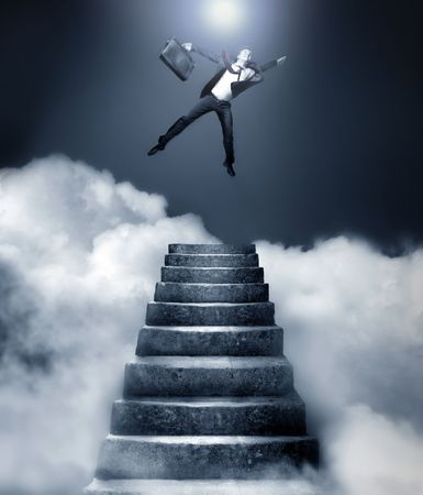 Businessman reaching heaven