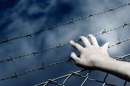 wire fence: Barbed Wire and a hand