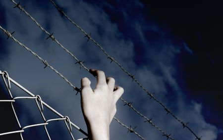 Barbed Wire and a hand Stock Photo - 5576242