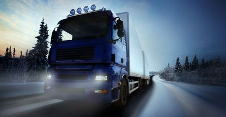 winter road:  truck driving on country-roadphotographic-retouching