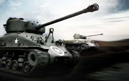 normandy: Tank Battle, Normandy Stock Photo