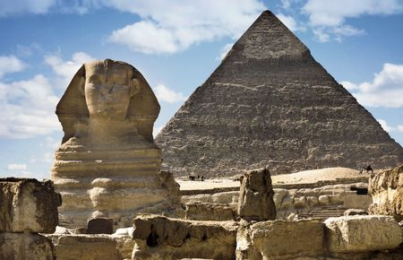 egyptian pyramids: Sphinx and Pyramid