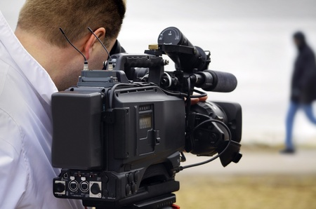video camera: tv reportage Stock Photo