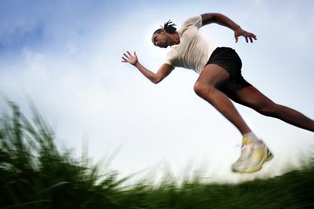 Running across Field Banque d'images