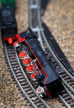 Toy railroad train crash