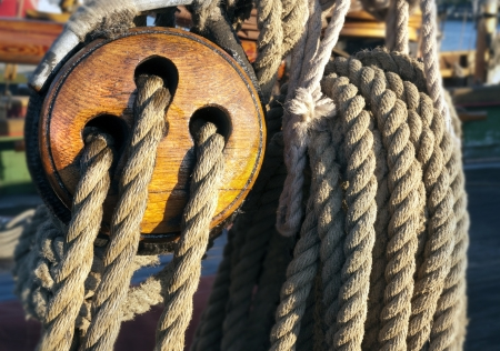 rigging: Close-up of a fasten rope Stock Photo