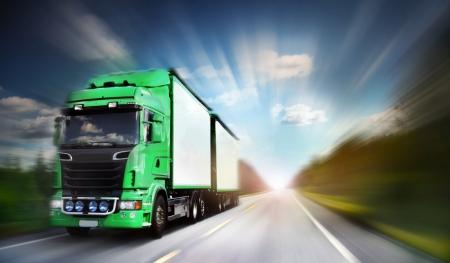 truck on freeway, blurred motion