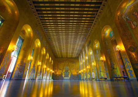 Sweden, Stockholm, Kungsholmen, City Hall, the Golden Room