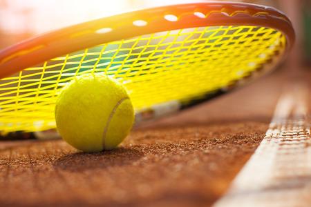 tennis clay: tennis ball on a tennis court