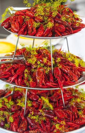Boiled or steamed crawfish
