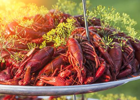 Boiled or steamed crawfish Banque d'images