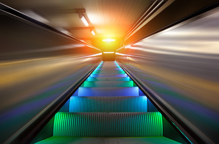 subway station: the escalator of the subway station in Sweden Stock Photo