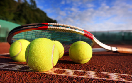 competitive sport: tennis ball on a tennis court