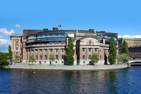 Le bâtiment du parlement (Riksdagen), Stockholm, Suède Banque d'images - 63318141