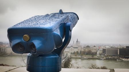Observation deck. Binoculars, Budapest