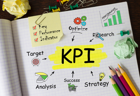 Notebook with Toolls and Notes about KPI,concept Stock Photo