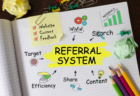schemes: Notebook with Toolls and Notes about Referral System,concept