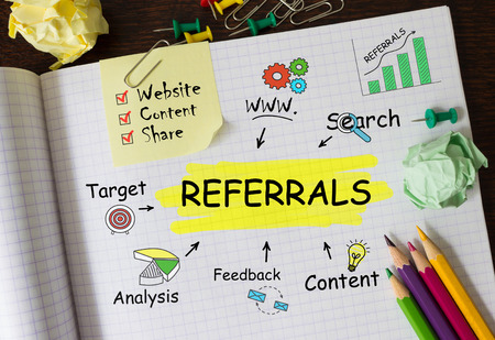 referrals: Notebook with Toolls and Notes about Referrals, concept Stock Photo