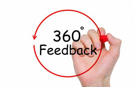비문을 작성하는 손 마커, 개념을 사용 하여 360도 피드백 스톡 콘텐츠