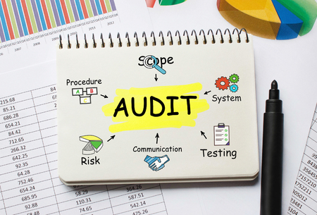assessment system: Notebook with Toolls and Notes about Audit Stock Photo