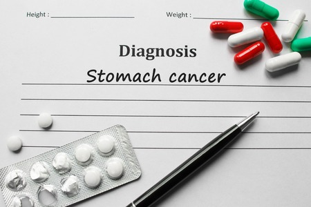 inflammatory bowel diseases: Stomach cancer on the diagnosis list, medical concept Stock Photo