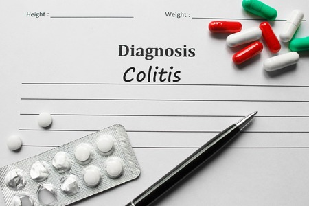 intestinal cancer: Colitis on the diagnosis list, medical concept Stock Photo
