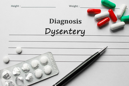 Dysentery on the diagnosis list, medical concept Stock Photo