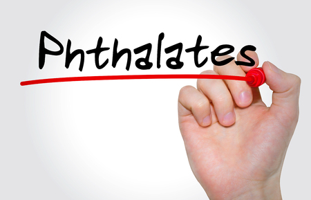 phthalates: Hand writing inscription Phthalates with marker, concept