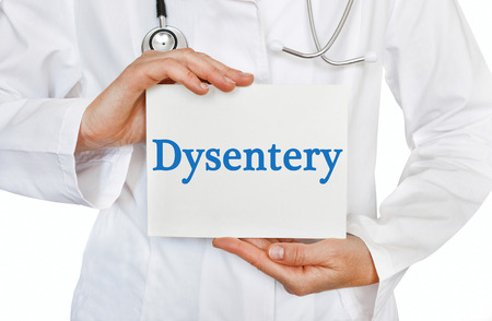 Dysentery card in hands of Medical Doctor Stock Photo
