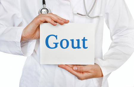 gout: Gout card in hands of Medical Doctor