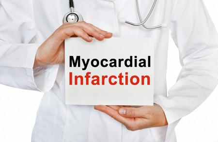 myocardial: Myocardial infarction card in hands of Medical Doctor Stock Photo