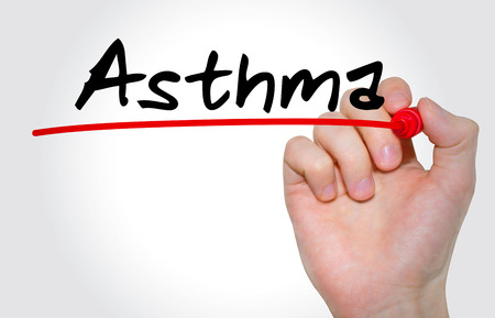 Hand writing inscription Asthma with marker, concept Stock Photo