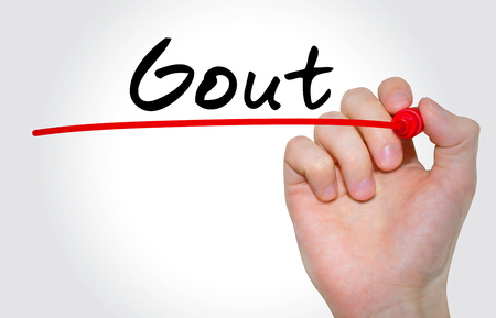 gout: Hand writing inscription Gout with marker, concept Stock Photo